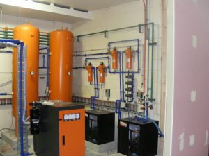 Compressed air system with filters, filter bypass, dryer and wet/dry receivers