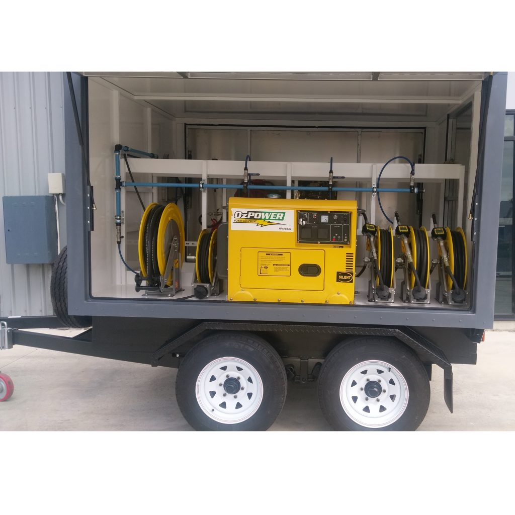 Service trailer for 4 new oils, grease, with generator, compressor and welder